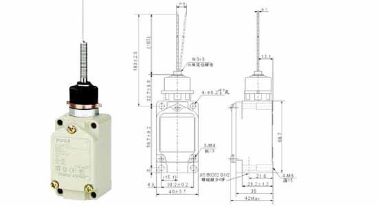 注: 1. 电感性负载之功率因素在 0.4 以上( AC ),时间常数在 7msec 以下( DC )。 2. 灯泡负载之突入电流为稳定状态电流之 10 倍,马达负载之突入电流为稳定电流之 6 倍 WLNJ-S2行程开关 特性